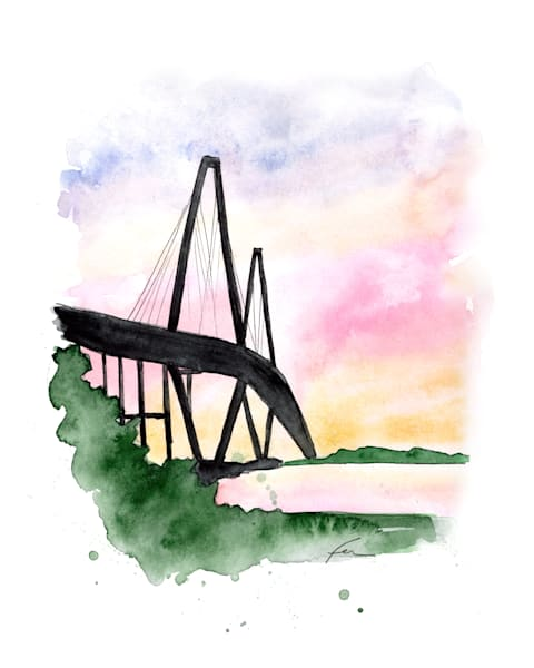 Ravenel Bridge Watercolor Art Print