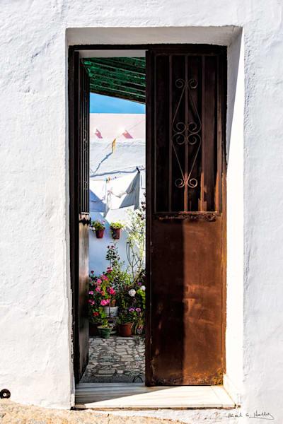 europe, spain, vejer-de-la-frontera, white-town, frontier, roman, door, flower, stucco, art