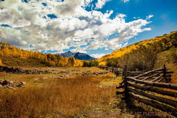 Sneffels Range and Split Rail Fence Photograph 3776 | Fall Colorado Photography | Koral Martin Fine Art Photography