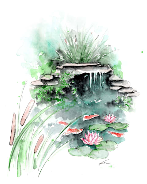 Koi Pond Watercolor Art Print