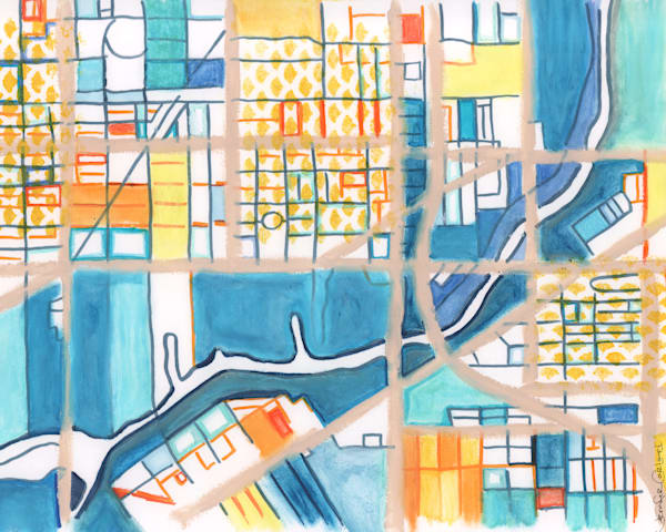 Abstract Map Print of Chicago Neighborhoods – Fine Art Print of Pilsen - Purchase City Neighborhood Map | Neighborhood Map Print | City Neighborhood Art | City Travel Print | City Neighborhood Print | Modern City Map by Carland Cartography