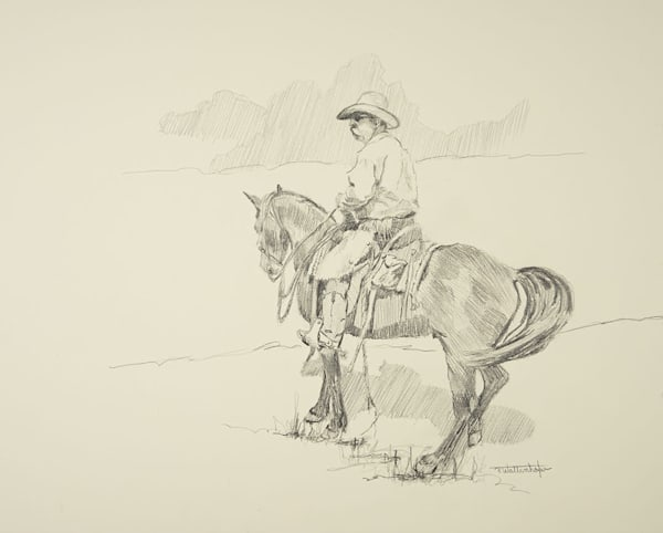"Raymond Wattenhofer Art Drawing ""The Hunt"""