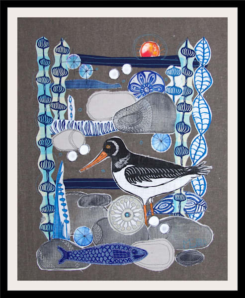 SOLD - Oystercatchers Morning - linocut collage on textile