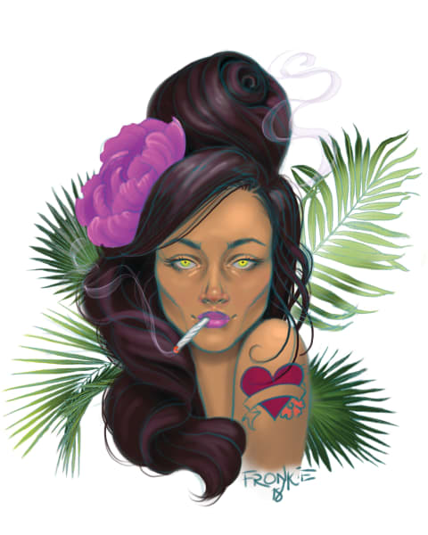 Shop Miami Girl prints by artist Fronkie