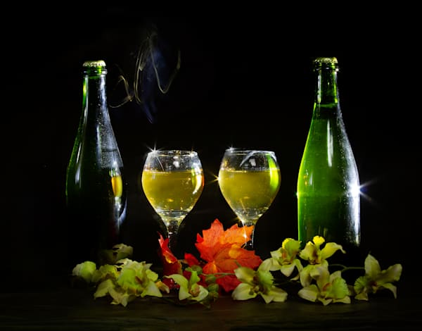 A Fine Art Photograph of Wine Products and Flowers by Michael Pucciarelli