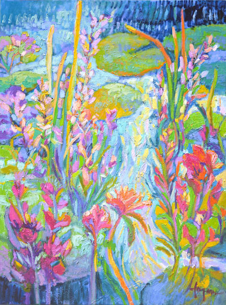 Abstract Floral Oil Painting, On a Sparkly Day by Dorothy Fagan