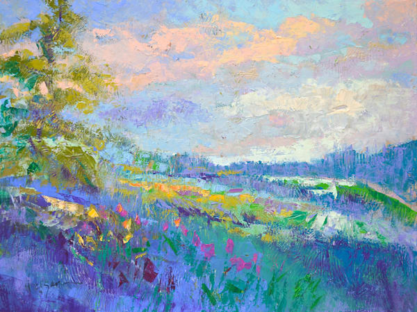 Lavender Blue Landscape with Clouds, original oi painting by Dorothy Fagan