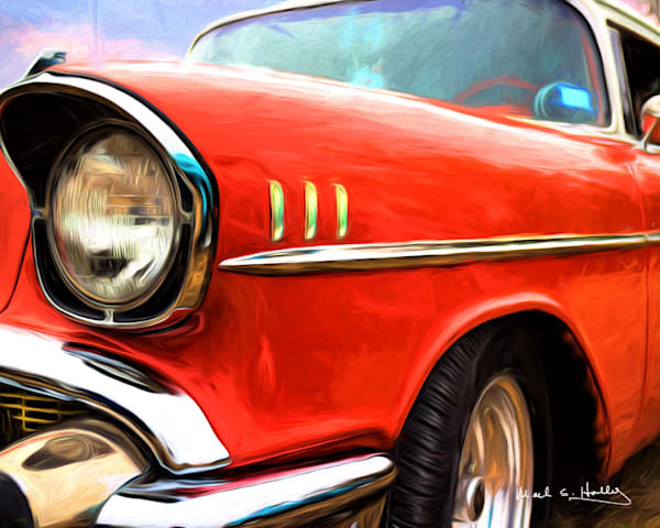 Chevy, red, 57, car, art