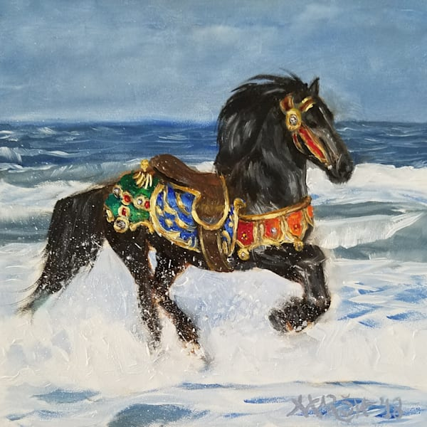 Splashing Carousel Horse Fine Art Prints