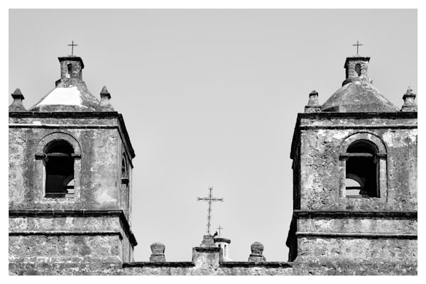 Bell Towers of Mission Nuestra Señora de la Purísima Concepción de Acuña | San Antonio | Black and White Photographs | Nathan Larson