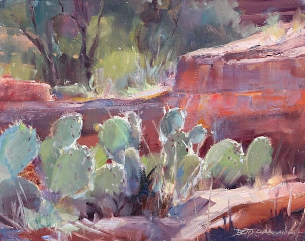 Cactus Lights Original Oil by Betty Carr