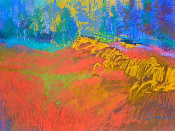 Vibrant Abstract Landscape Painting, Beating Heart by Dorothy Fagan