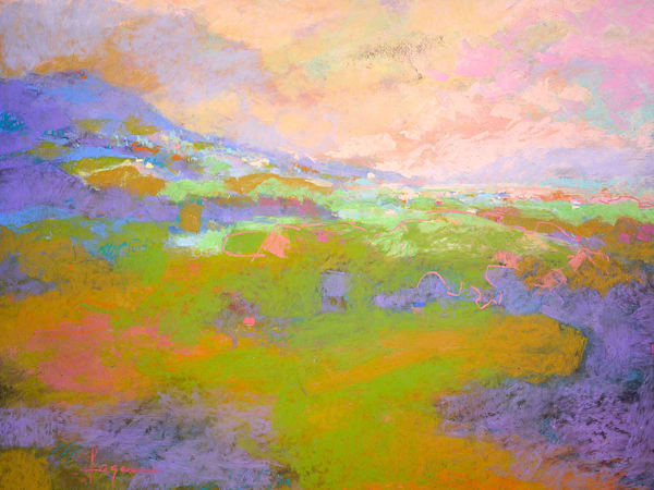 Beautiful Abstract Mountain Landscape Painting, Mist Lifting by Dorothy Fagan