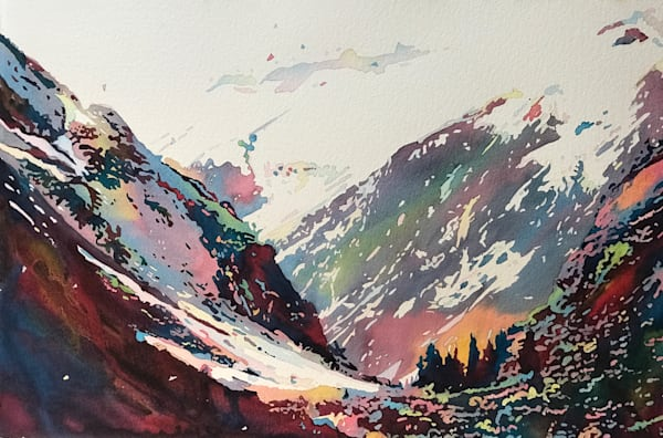 Impressive Mountains protect small valley of Trees.  Shop Prints/ Patrice Cameron Art.