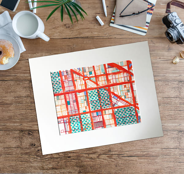 Original Art by Carland Cartography - Abstract Chicago Map– Mixed Media Drawing of Logan Square. Abstract City Map | Modern City Art | Gift Ideas | Housewarming Present