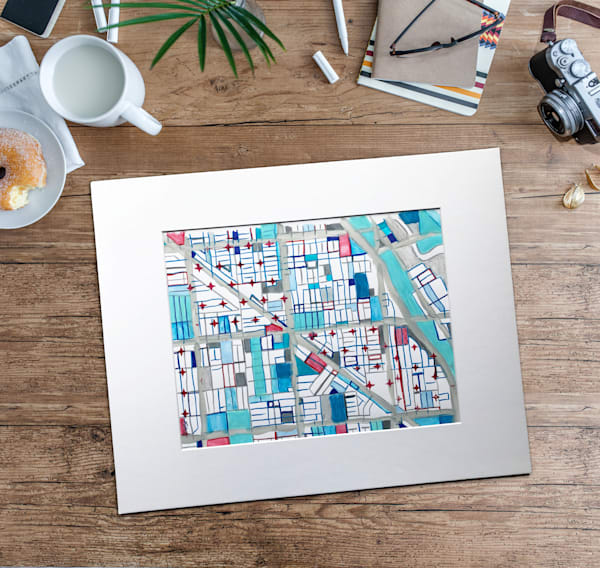 Original Art by Carland Cartography - Wicker Park Neighborhood Map– Chicago Mixed Media Drawing. Map Art | Abstract Map | Chicago Wall Art | Nursery Wall Art