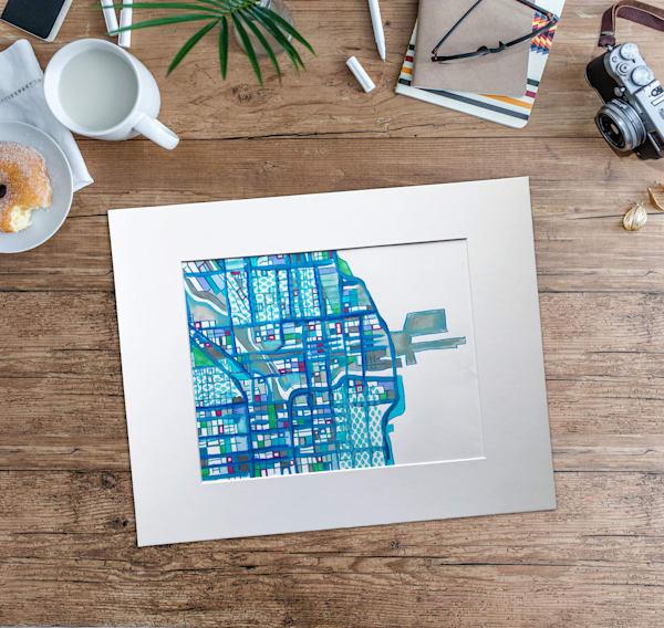 Original Art by Carland Cartography - Abstract Chicago Map–Abstract Office Décor | Modern Map Art | Modern City Art