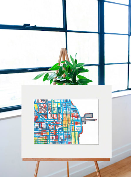 Original Art by Carland Cartography - Downtown Chicago Map Drawing– Mixed Media on Paper.   Chicago Wall Art   Gift Ideas   Home Décor   Bedroom Wall Art