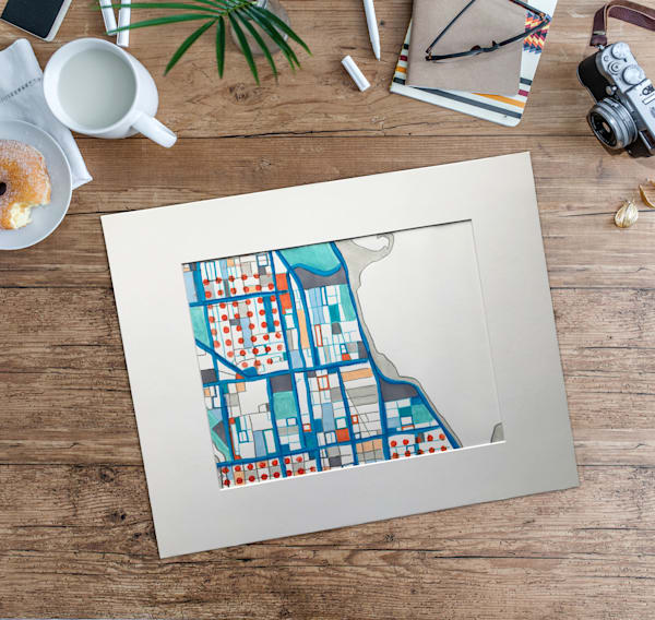 Original Art by Carland Cartography - Gold Coast Neighborhood  Map– Abstract Chicago Drawing.   Modern City Map   Abstract Art on Paper   Abstract Office Décor