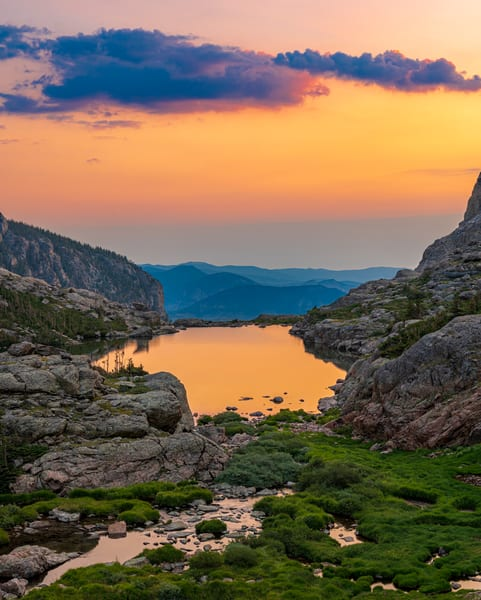 Vertical Photo Lake of Glass Warm Sunrise Reflecting Upon Still Waters RMNP Colorado