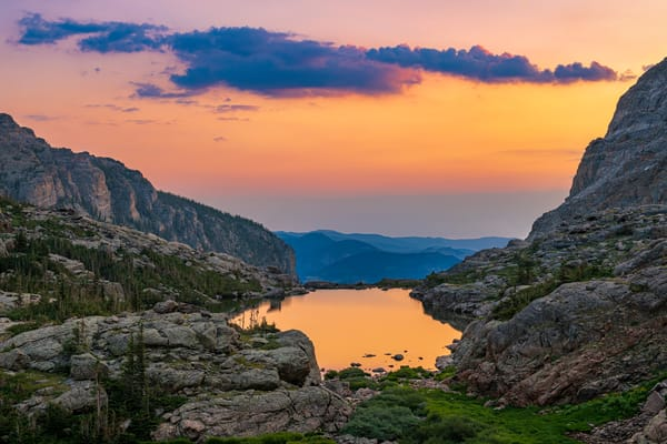 Photo of Colorful Sunrise Reflecting Upon Lake of Glass, RMNP Colorado