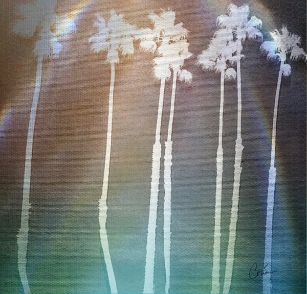 Palm Trees Turquoise Lights Art Painting