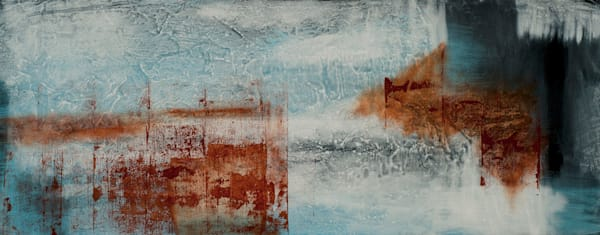 Through the Veil abstract painting in shades of blue and red by Jana Kappeler.