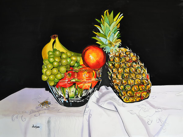 Still life with pineapple and tropical fruit