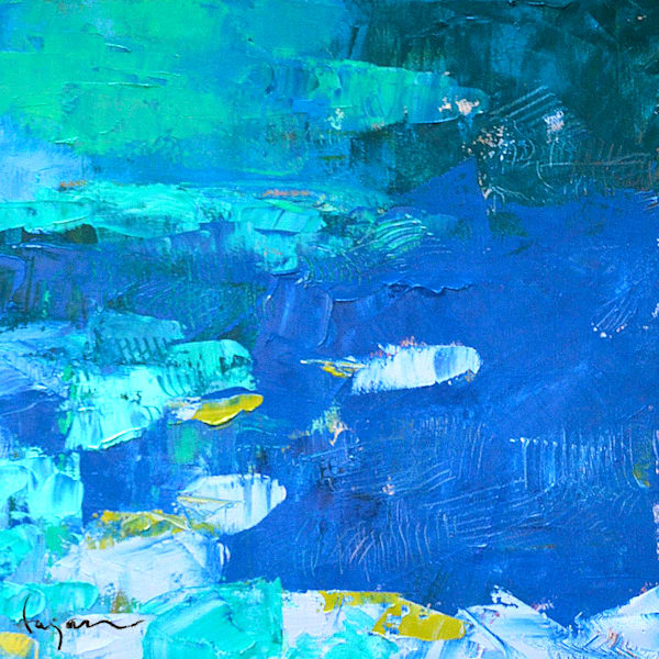 Blue Abstract Water Painting, Small Square Dream Series by Dorothy Fagan