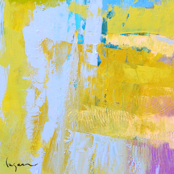 Yellow Abstract Painting, Square Canvas Print by Dorothy Fagan