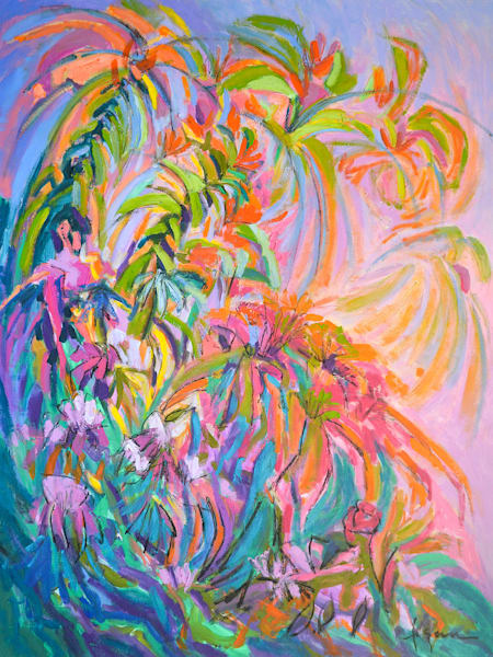 Abstract Floral Original Oil Painting, Unfettered Desires by Dorothy Fagan
