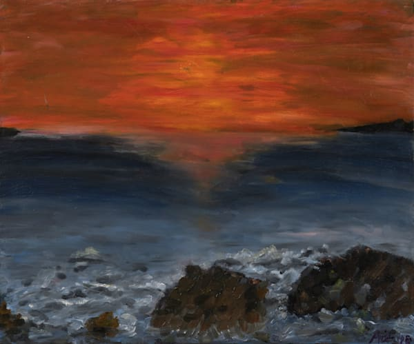 Sunset over wave crashing over rocks, print