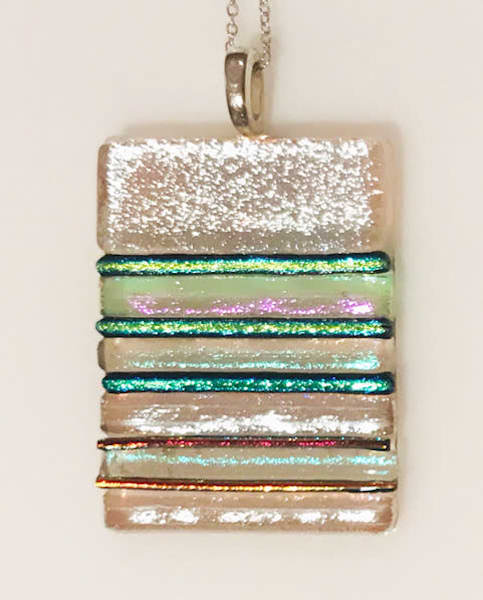 Silver Iridescent Multicolor Glass Necklace