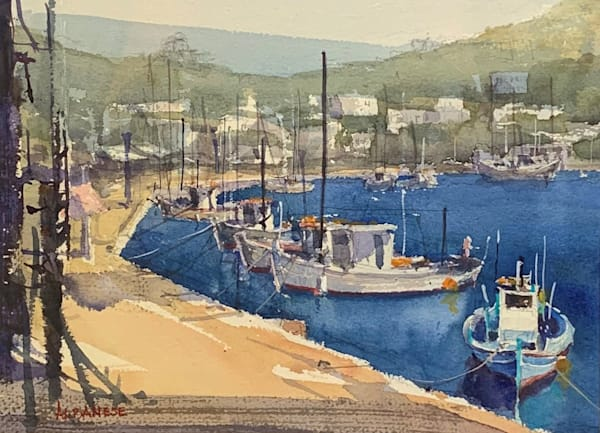 Harbor Harmony Original Watercolor by Chuck Albanese