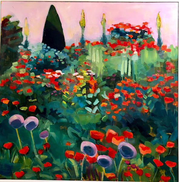 """Beautiful """"Summertime Blues 6"""" plein air landscape painting by Monique Sarkessian of poppies and allium is done with oil paint on cradleboard mounted in a white wood floater frame 1.5"""" deep."""