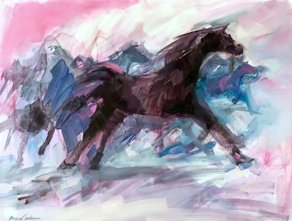 "This painting ""Releasing-Horses""by Monique Sarkessian, about releasing the power of  the Holy Spirit ,Oil on wood, 18x24""."