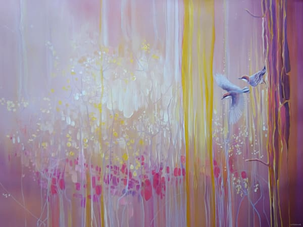 original oil painting of nuthatch birds in the corner of a wildflower field at dawn, art nouveau, semi abstract, impressionist.