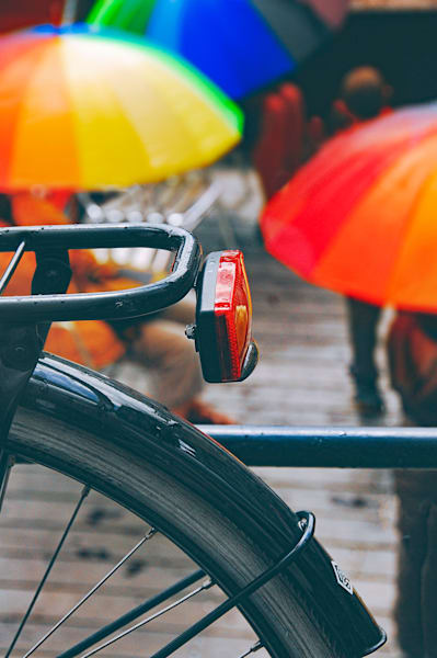 Bike and colorful umbrellas Gent Belgium