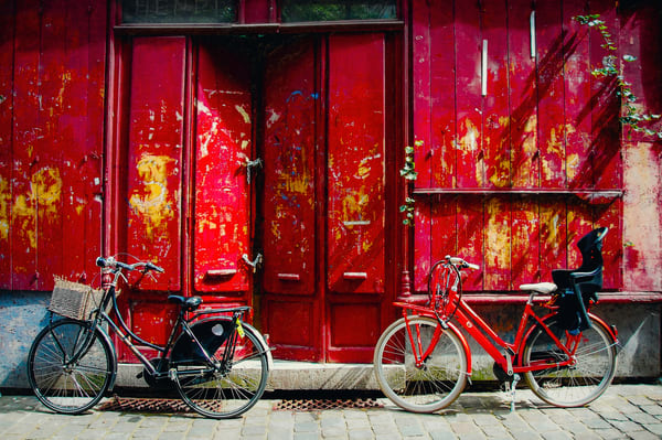 Bikes On Red Wall Gent Belgium Photography Art | DMM Media, LLC