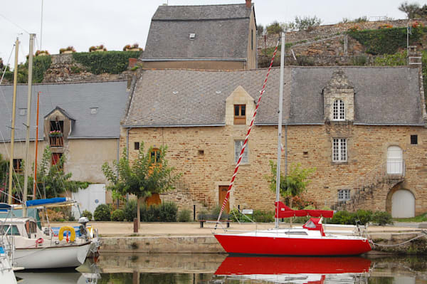 Red Sailboat Brittany, France