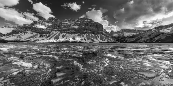 Bow Lake Chessboard.Late Spring temperatures start to open up the high lakes in Banff National Park.Canadian Rockies| Rocky Mountains|