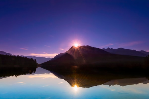 Canada Day and the sun rises over Banff . Banff National Park|Canadian Rockies|Rocky mountains|