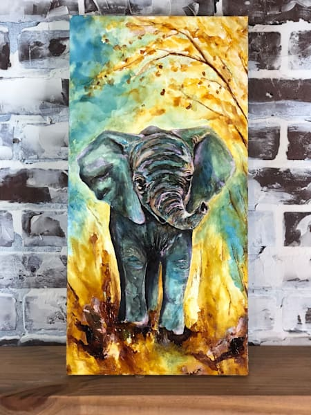Original alcohol ink baby elephant art, gallery wrapped canvas, by Heidi Stavinga