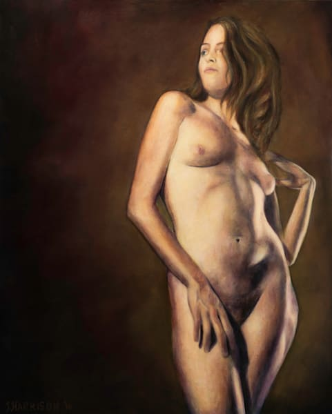 STATUESQUE (Original oil painting on wood panel, framed)