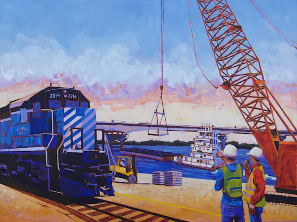 Where Business Is Moving, fine art prints from original oil on canvas painting by Matt McLeod for The Little Rock Port Authority.