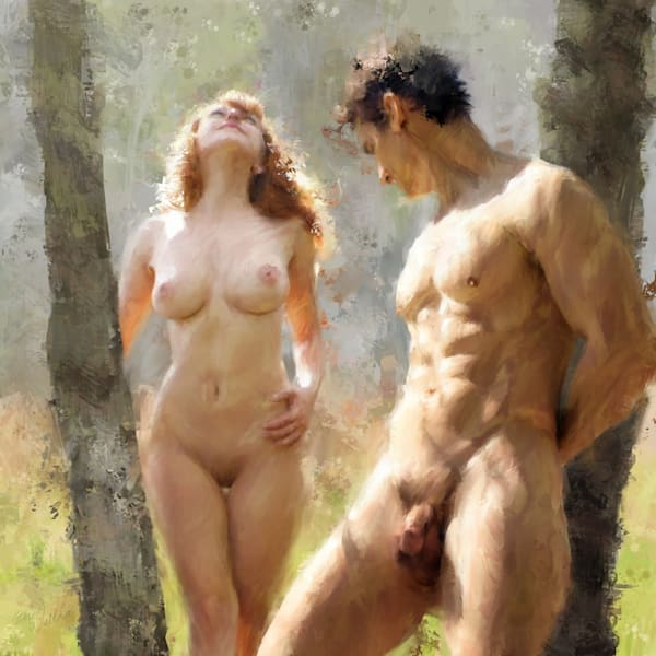 Naturist Couple Limited Edition by Eric Wallis. Signed and numbered with certificates of authenticity.