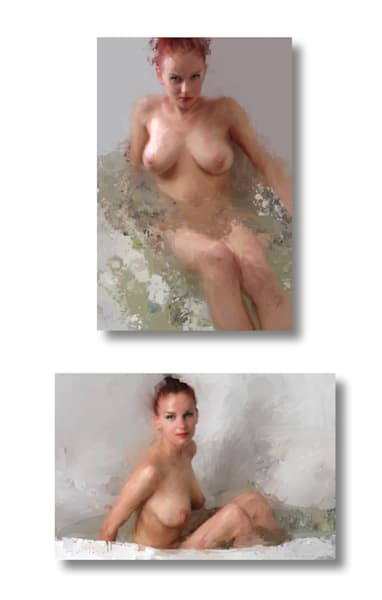 Bathing and Enjoying a Bath by Eric Wallis. Limited Edition by Eric Wallis. Signed and numbered with certificates of authenticity.