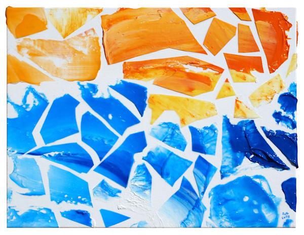 Orange & Blue Mosaic Art | Sculpted Paint