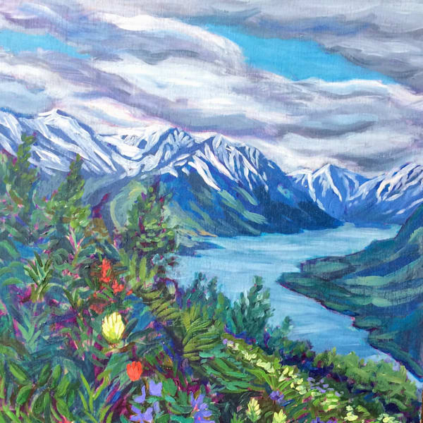 Turnagain Arm Mountains and Flora by Hope, Alaska, Art print
