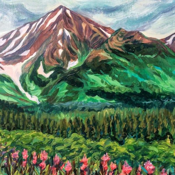 Fireweed Foothills Under the Mountain - Alaska art print